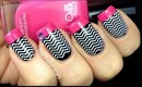 Chevron Nails Tutorial - Konad Stamping Easy Black White How To Latest Nail Polish Designs