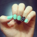 Mint and Polkadot Nails