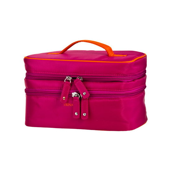 Trina Bright Fuschia Cosmetic Bag Double Zip Train Case