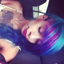 Blue hair with purple high lights