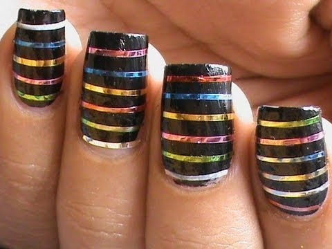 Striping Tape Nail Art Tutorial For Beginners Easy How To Do Nail