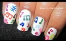 Colorful Music Notes Nail design.