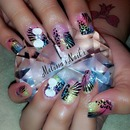 Colorful/Rainbow Zebra/Cheeta Print Acrylic Nails With 3D Bows .