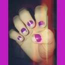 Purple nails with silver stripe