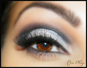 New years eve look! Nyx matte black in the crease  Nyx silver glitter liner all over the lid