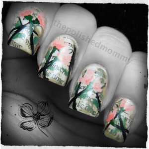 February Nail Art Challenge: Flowers. Robin Moses Nail Art inspired. http://www.thepolishedmommy.com/2013/02/flowers-and-love-letters.html