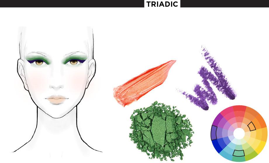 A triadic color scheme plays