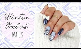 Blue Winter Ombré Nails | Stamping ♡