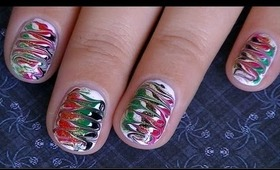 Christmas Marble *NO WATER* Easy Nail Design