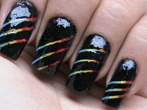Rainbow Nail Art Designs With How To Use Striping Tape Tutorial Cute Polish Video DIY