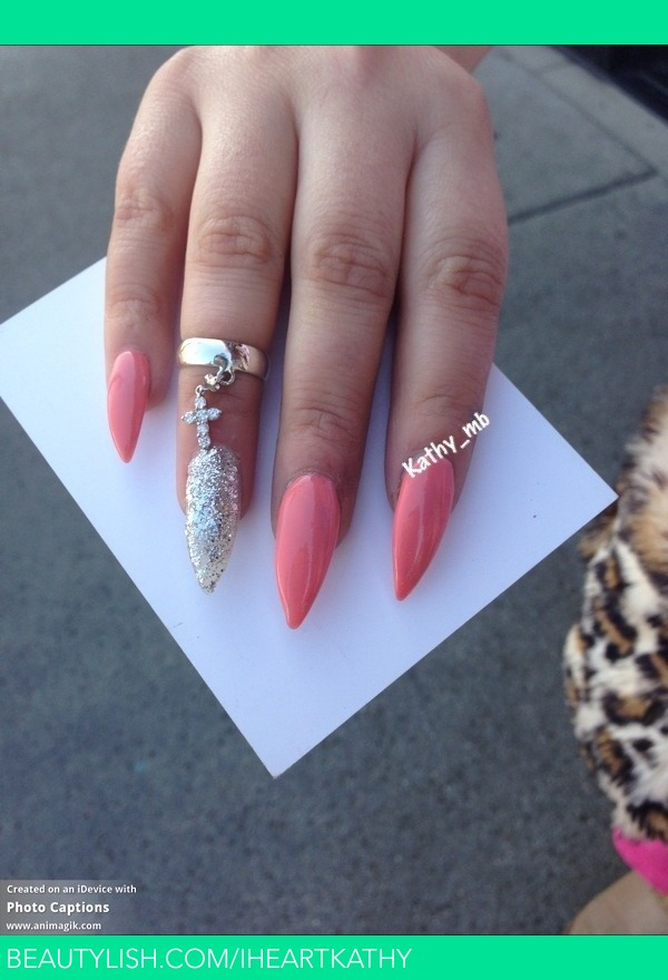 Stiletto nails with light pink and silverLight Purple Stiletto Nails