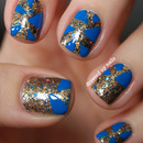 Glitter and blue triangle nails