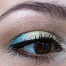 Soft green with azure blue - detail of eye
