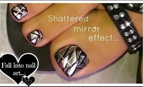 How to Shattered Glass Nail Art | Broken Mirror Effect Toenail Art ♥ Latest Trend!