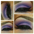 Purple Glitter Cut Crease Makeup Look
