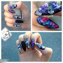 galaxy stiletto nails with glitter