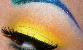 Colorful Brows and Bright Yellow eyeshadow tutorial!!