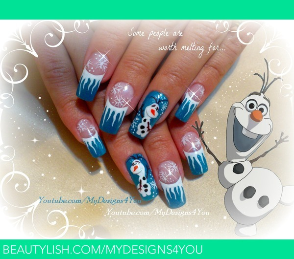 Snowman Nail Art Tutorial: Disney FROZEN Inspired, OLAF The Snowman, Winter Nails