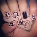 Pink and Black Cheetah Print Nails