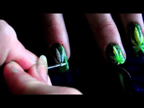 Weed Leaf Nail Art Tutorial Hd Themidnightmanicures Video