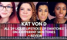 Kat Von D Everlasting Liquid Lipstick Swatches on lips + Review All 29 shades