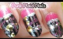 Pink & Black Punk Studded Stiletto Nails
