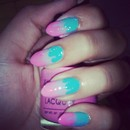 Pink, purple and blue candy like nails!