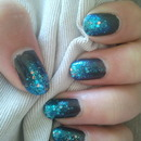 Black and blue glitter nail art