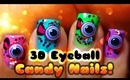 Cute 3D Eyeball Candy Nails! ♡ Sweet Halloween Design