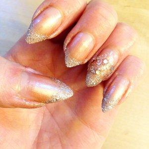 Holiday or wedding nails using a makeup sponge to apply nail polish. OPI liquid sand Silent Stars Go By and OPI Nomad's Dream