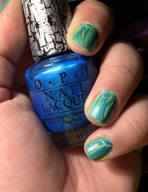 Nails: OPI Polish in Turquoise Shatter on top of Orly Nail Polish in Green Apple