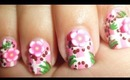 Cute Pink Fimo Floral Baby Nail Art / Diseño Floral