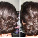 Low bun with pin curls