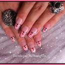 Tribal Pink French Tip Nail Art