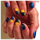 Early 1900's Dutch painter Piet Mondrian inspired nail art