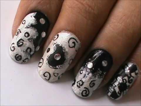 magic nails black n white  easy nail art for short nails