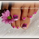 Toenail Art Design | Pink and Silver Beads Pedicure