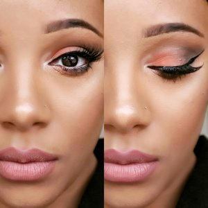 A spring forward, Soft peachy smokey eye, using olive green instead of brown or black