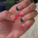 Colorful Blue and Pink French Manicure