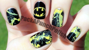I had a request on my facebook page to do a batman nail art design and this is what I came up with. The batman symbol isn't as hard as it looks, and I absolutely love the way the splatter nails turned out! The black is Sinful Colors Black on Black and the Yellow is Sally Hansen Xtreme Wear Mellow Yellow.