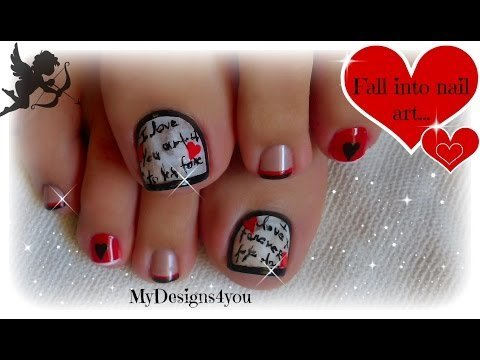 Valentines Day Love Letter Toe Nail Art Diseo de Uas San