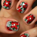 Glittery poinsettia nails
