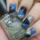 NYE color blocked nailart