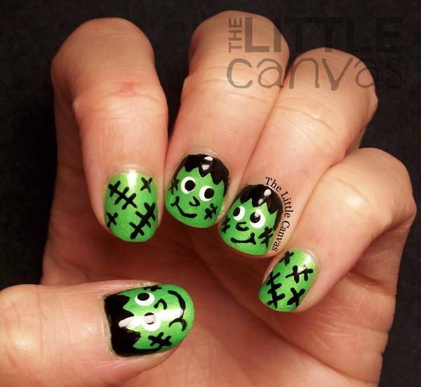 Super Happy Frankenstein Nail Art The Little Canvas As