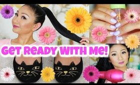 GET READY WITH ME: BRIGHT LIP, MAKEUP,  SLEEK PONYTAIL + OUTFIT!