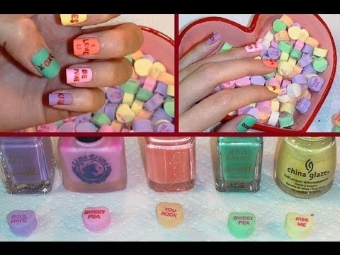 Easy Valentineu0027s Day Candy Heart Nails!