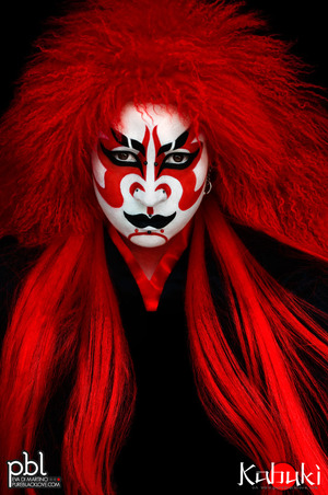 "Kabuki (歌舞伎 kabuki) is a classical Japanese dance-drama. Kabuki theatre is known for the stylization of its drama and for the elaborate make-up worn by some of its performers. The individual kanji characters, from left to right, mean sing (歌), dance (舞), and skill (伎). Kabuki is therefore sometimes translated as ""the art of singing and dancing."" (from Wikipedia) www.pureblacklove.com"