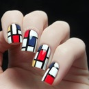 Mondrian Inspired Nail Art