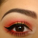 Red Eyeshadow, Gold Eyeliner