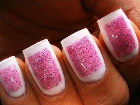 Framed Glitter Nails Cute Glitter Polish Designs Sparkle Beginners